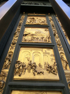 Baptistery, replica of Gates of Paradise by Ghiberti -- Isaac (lower panel)