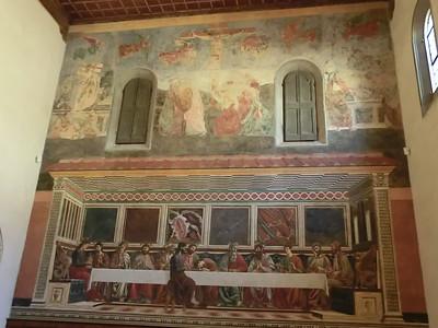 Cenacolo di Sant'Appolonia, Crucifixion and Resurrection (upper) and Last Supper (lower), del Castagno (15th C)