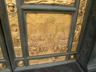 Baptistery, replica of Gates of Paradise by Ghiberti -- Solomon and Sheba