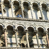 San Michele in Fore -- detail of facade; every column is different