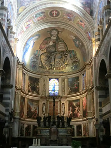 Duomo:  Mosaic of Christ in Majesty flanked by Virgin Mary and St. John by Cimabue (dated 1302, the last year of Cimabue's life)