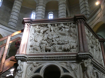 Baptistry:  Pulpit, Nicola Pisano (13th C); Nicola is the father of Giovanni Pisano, who did the pulpit in the Duomo