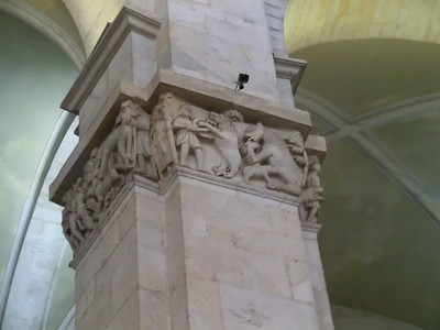Baptistry:  Column decoration with fantastical animals