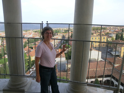 Linda on the top of the Leaning Tower:  It doesn't look as crooked from up here as it does from the ground
