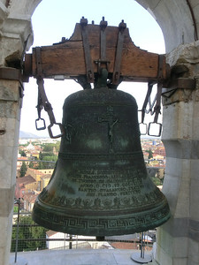 Top of the Leaning Tower:  the position of the bell gives you some sense of the lean