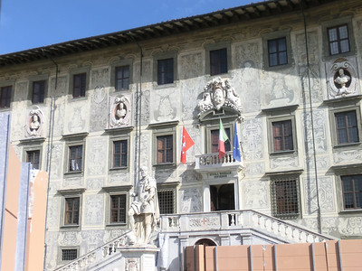 "Palazzo dei Cavalieri with ""sgraffito"" (decorative painting on building exterior)"