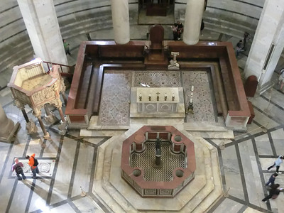 Baptistry:  View of interior from upper gallery, showing geometric decorations