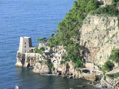 """Another view of the harbor; Positano's """"other beach"""" is around the corner"""
