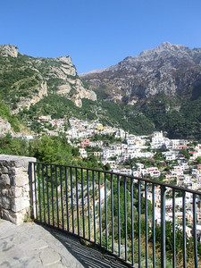 View of hills behind Positano from the Belvedere, top of the hill
