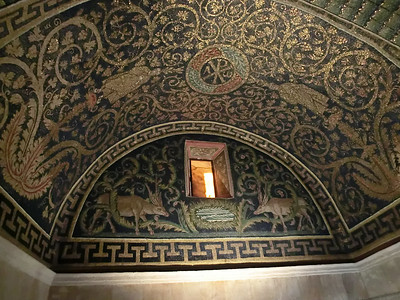 Mausoleum of Galla Placidia:  Ceiling mosaics, with animals reminiscent of prehistoric cave painting