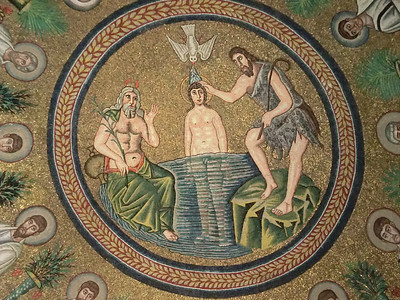 Arian Baptistery:  Ceiling mosaic, St. John the Baptist baptizing Christ; note absence of loincloth on Jesus (the Arian sect emphasized the physicality of Christ)
