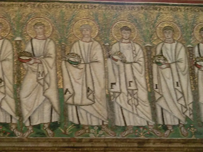 Church of St. Appolinare Nuovo:  Mosaics of saints, prophets and evangelists (6th C)