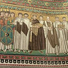 Basilica of San Vitale:  Mosaic of Emperor Justinian and courtiers