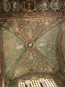 Basilica of San Vitale:  Ceiling mosaics, with Lamb of God at the center