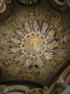 Neonian Baptistery:  Ceiling mosaic, St. John the Baptist baptizing Christ, surrounded by angels (late 4th or early 5th C, the most ancient monument in the city)