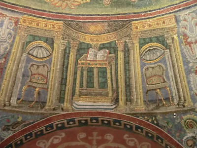 Neonian Baptistery:  Mosaics depicting the Bible and empty chairs (symbolism unclear)
