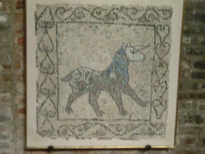 Church of St. John the Evangelist -- Unicorn mosaic (not sure whether original 5th C or medieval)