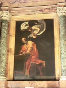 Church of San Luigi dei Francesi, The Inspiration of St. Matthew, Caravaggio (1600)