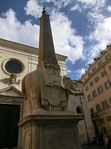 Pulcino della Minerva (elephant base for Egyptian obelisk, designed by Bernini and executed by his pupil Ferrara, 17th C), outside the church of Santa Maria Sopra Minerva