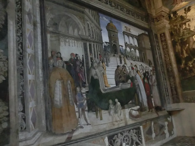 Basilica of Santa Maria in Aracoeli, fresco depicting life of St. Bernard by Pinturicchio (15th C)