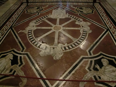 Duomo, Marble mosaic floor, Wheel of Fortune (14th C)