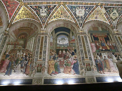 Duomo, Piccolomini Library, frescoes by Pinturicchio (16th C): left to right, Coronation of Piccolomini as Pope Pius II, Pope Pius II at Congress of Mantua, Canonization of St. Catherine of Siena