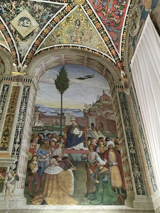 Duomo, Piccolomini Library, frescoes by Pinturicchio (16th C), Pope Pius II arrives in Ancona