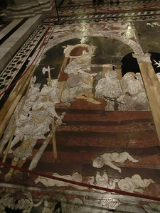 Duomo, Marble mosaic floor, Slaughter of the Innocents (15th C)