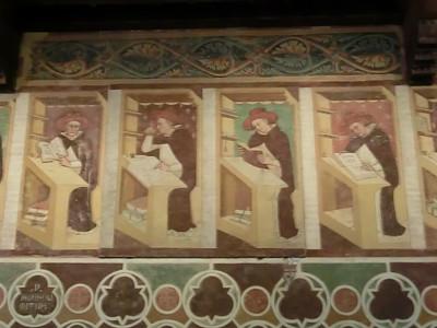 Frescoes of working monks, Tommaso da Modena, refectory, church of San Nicolo