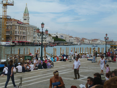 Waiting on the steps of Santa Maria della Salute for the beginning of the Regatta Storico