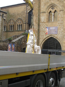 Statue wrapped for transport