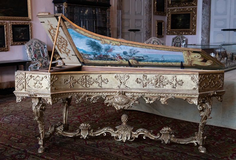 Ornate piano in the palace on Isola Bella -  Stresa, Italy