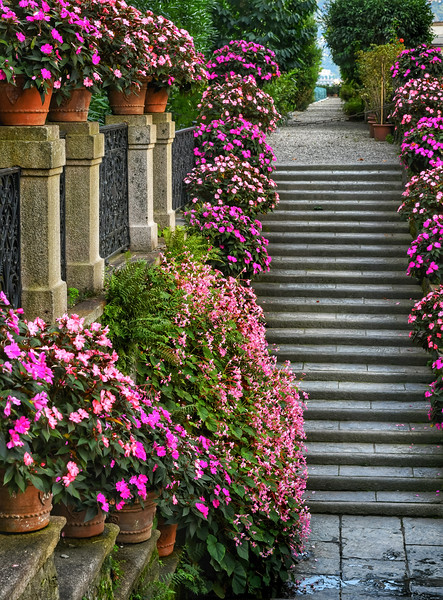 Steps decorated with flowers at Isola Bella