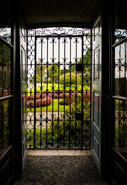 Garden view from the Isola Bella palace on Lake Maggiore - Stresa, Italy.
