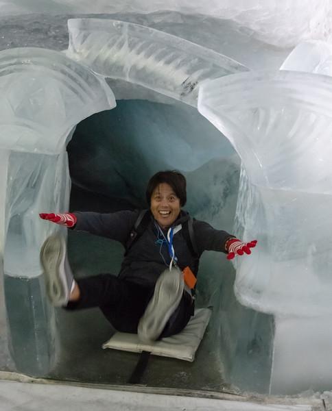Ice slide inside the glacier at  Klein Matterhorn
