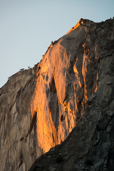 Though there was no water flowing in Horsetail Falls, the setting sun still managed to ignite the granite walls.