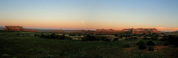 Moon over Canyonlands, The Needles Dist., Canyonlands Nat. Pk. UT
