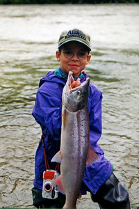 Catch of the day. Coho salmon on the Talkeetna River, Talkeetna, Alaska