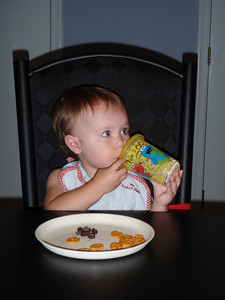 Raisins and Cheez-its and a sippy cup!
