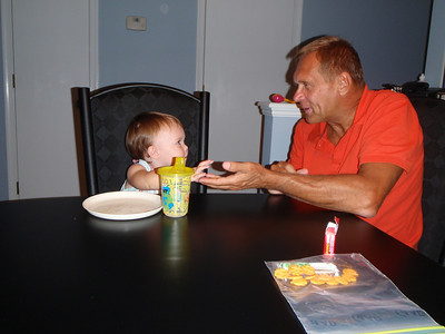 Addy sharing with her Pap-Pap!