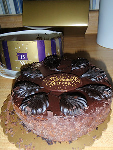 Delicious chocolate cake sent by TruWealth for DMM's 65th birthday (same day as the surgery).
