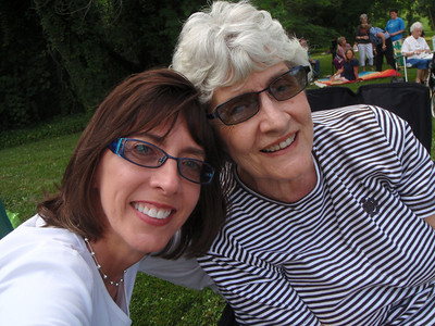 Mom and me selfie on the lawn at Reynolda House
