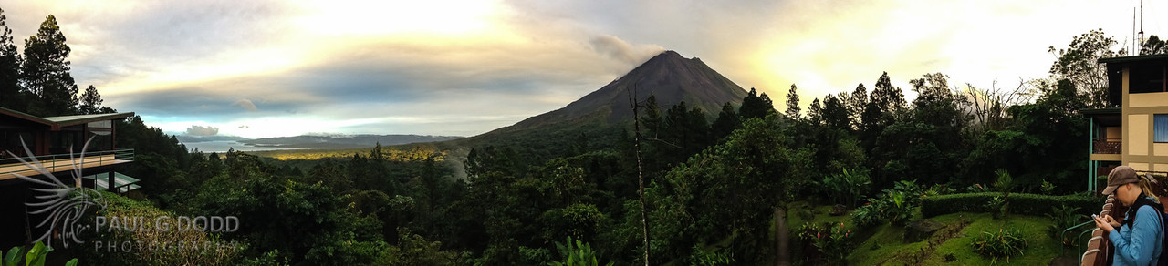 Panorama from dining room balcony at Arenal Observatory Lodge