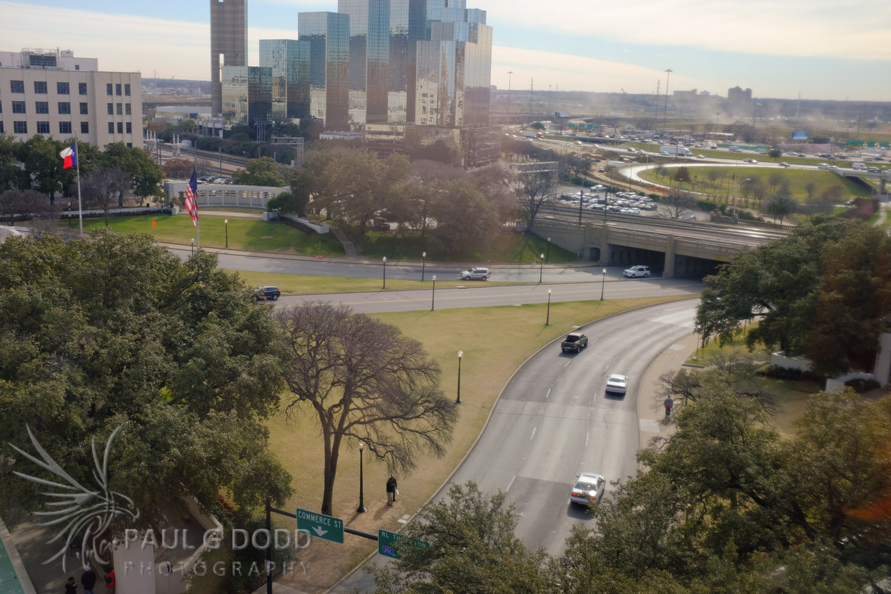 Looking south-west along Elm St (the route of the motorcade) from the seventh floor of the Texas Schoolbook Depository. This gives some indication of the direction Lee Harvey Oswald fired the shots from.