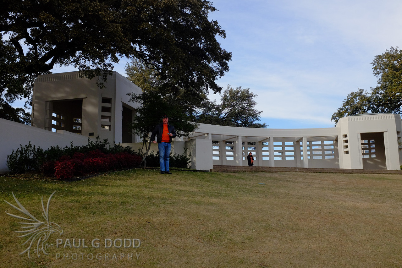The grassy knoll and the plinth where Abraham Zapruder stood when shooting the famous film of the assassination.
