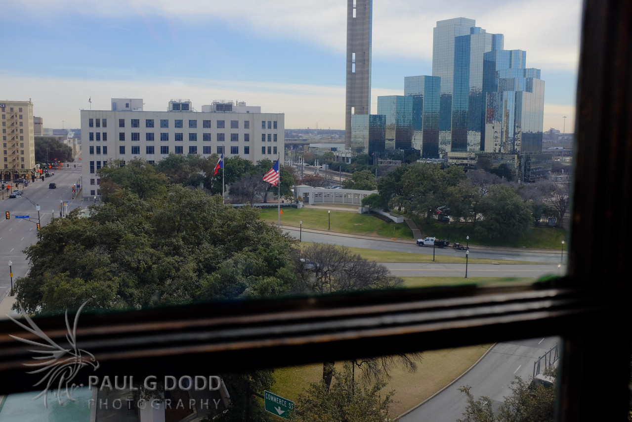 Looking south along Houston St from the sixth floor of the Texas Schoolbook Depository.