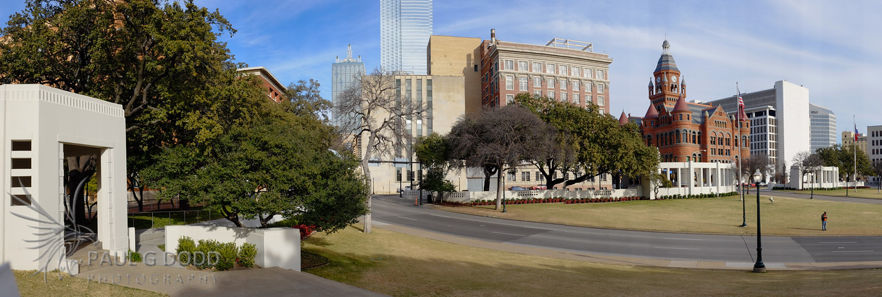 Elm St (route of the motorcade) from the grassy knoll.