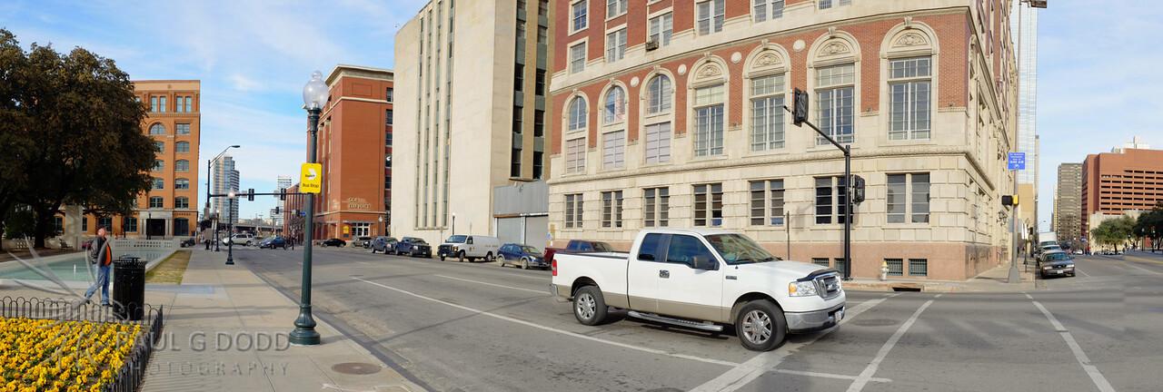 Corner of Houston and Main looking towards Texas Schoolbook Depository.