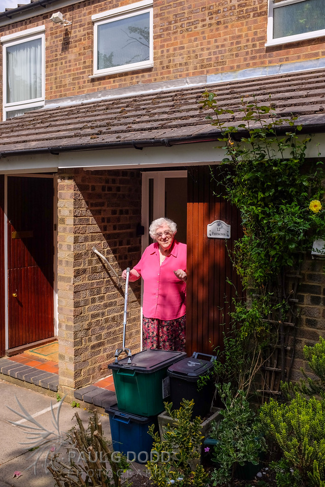 Barbara outside her home in Croydon