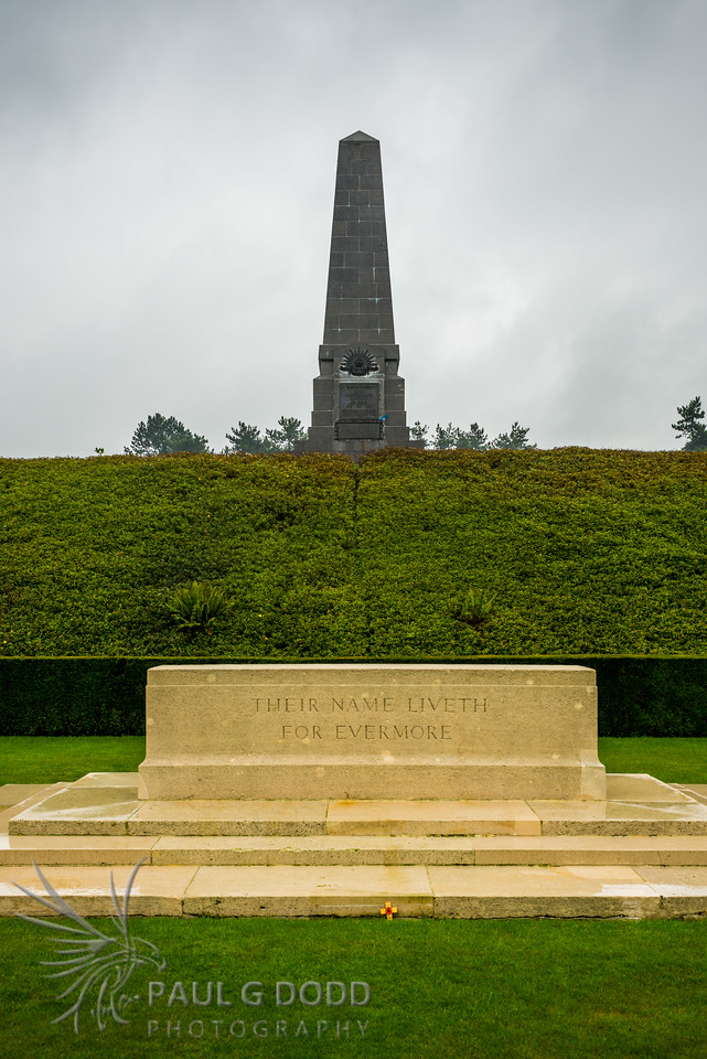 Australian 5th Division Memorial behind the Stone of Remembrance at Buttes New British Cemetery